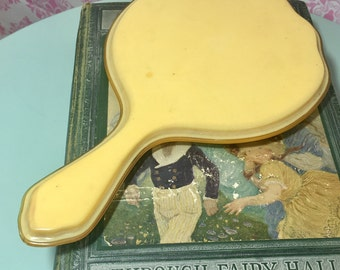 Vintage Bakelite Celluloid Hand Mirror, Vintage Vanity Accessory, 1920s Hand Mirror
