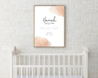 DIGITAL - Custom Baby Name print, Baptism, Name meaning, Baby Girl, Nursery, Customized, Personalized, Nursery Decor, Printable