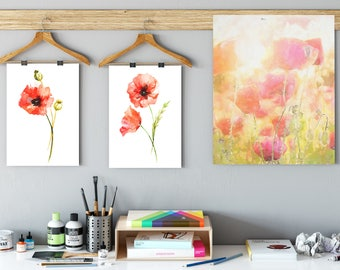Red Poppy, Poppies, Red poppy Wall Art, Set of 2 prints, Botanical Illustration, Poppy drawing, Floral Living Room Decor, Red home decor