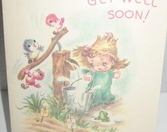 Get Well Soon greeting card. Vintage. Unused. Made USA. Vintage greeting card fun to send great craft. Harry Doehla Company