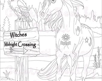 Adult Coloring Page Coloring Pages Digital Download Haunted