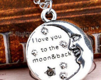 "Silver Pendant ""I Love You To The Moon And Back"" Inscribed Necklace NK4063i"