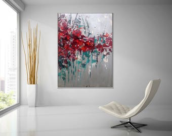 ABSTRACT Custom Painting 'Poppies' 40x30 In.XLarge Canvas  Modern Art Abstract Painting Wall Decor silver acrylic painting canvas art