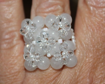 Maxi ring with semiprecious stones and white crystals
