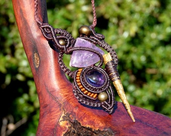 macramé - tribal - two Amethyst necklace
