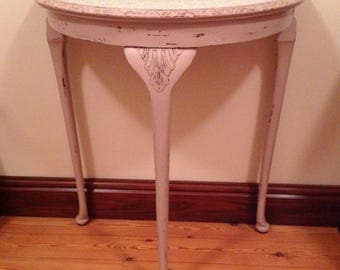Elegant, Upcycled, Shabby Chic, Half Moon Side Table - REDUCED