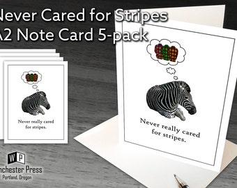 Funny Plaid Stationary for Men, Funny Zebra Note Cards, Plaid Humor, Plaid Lover Gifts, Plaid Apparel Designer Stationery, Zebra Stationary