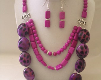Purple Animal Print Necklace Earring Set