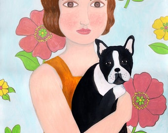 Folk Art Portrait Flapper Girl Holding French Bulldog Wall Art Print Boston Terrier Acrylic Painting Decor Drawing Naive Portrait Woman 1920
