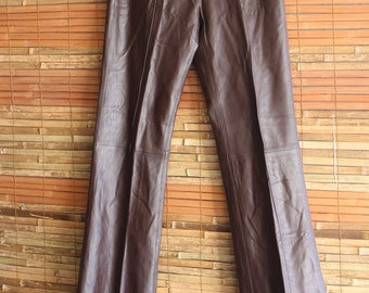 90s Vintage Coffee Brown Leather Trousers Size Small