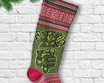 Santa Sock Knit Christmas Stockings  Large Stocking Green Red White Modern Holiday Knitted Sock Snowflakes  Dollar Money