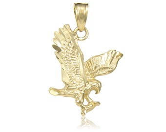 14K Solid Yellow Gold Eagle Pendant - Flying Bird Diamond Cut Necklace Charm