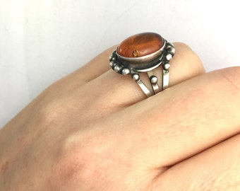 Vintage Sterling Silver and Natural Baltic Amber Ring