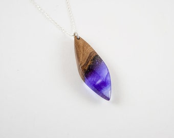 Olive wood and resin necklace. Gift Necklace.