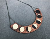 Moon Phase Necklace Wood Inlay Marquetry Statement Minimalist