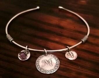 Sterling Silver Monogram Charm Bracelet
