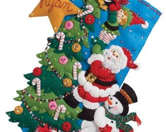 "Bucilla The Finishing Touch 18"" Christmas Stocking Felt Applique Kit, 86278"