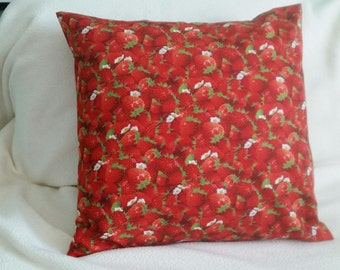 Strawberries Pillow Cover - Fantasia - Swappillow Covers - Envelope Closure - Decorative Cover- 16x16 - Throw Pillow - Home Decor