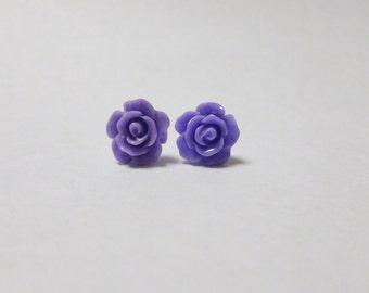 Purple Rose Flower Ear Studs Flower Earrings Earstuds Resin Flowers