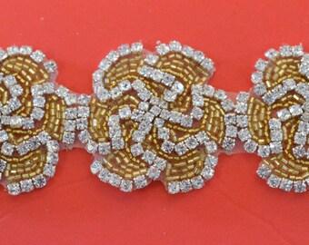 """Crystal Rhinestone Trim by the Yard-Wholesale Silver or gold Bridal Trim- rhinestone banding- 2 """" Crystal Trim - made in Czech Republic"""