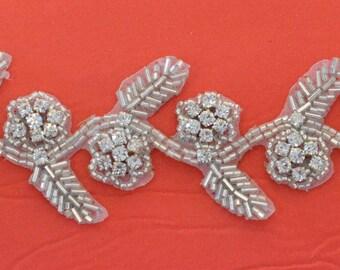 "Crystal Rhinestone Trim by the Yard-Wholesale Silver  Bridal Trim- rhinestone banding- 1"" Crystal Trim - made in Czech Republic"