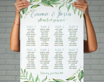 green wedding seating plan table printable wedding seating chart greenery seating arrangements leafy wreath personalized seating table plan