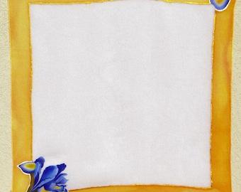Iris scarf hand painting, 50 x 50 cm-(Strangolino, Orange, ochre, violet Scarf, Hand-painted pure silk scarf, Violet, Orange)