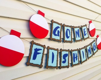 Gone Fishing Banner - Fishing Birthday Party Decorations - Retirement Party Decorations