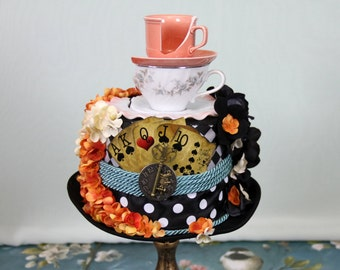 Mad Hatter Dotted Tea Party Top Hat