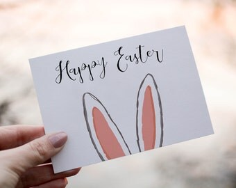PRINTABLE | Easter Card | Happy Easter Card | Easter | Happy Easter | Bunny Ears | Greeting Card | Printable | Digital | Instant Download |
