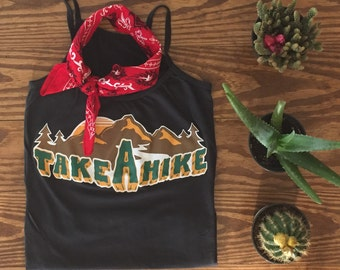 Take a Hike Tank Top- Cami- Vintage Inspired- 70s- Women's Tshirt- Made in the USA- 70s Style- Vintage Tshirt