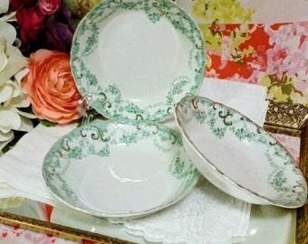 Antique Alfred Meakin Royal Semi Porcelain Fruit Bowls, Set of 3, Devon Pattern- Greenville Flow Green, Gold Accents, England 1890's
