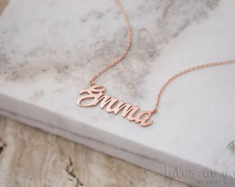 SUMMER SALE, Rose Name Necklace, Gold Name Necklace, 14K Gold Necklace, Rose Gold, Personalized Necklace, Gift For Her, Custom Gold Name