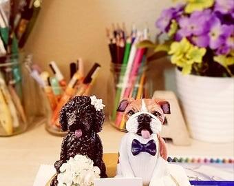 Clay Dog Cake Topper - English Bulldog Cake Topper, Labradoodle Cake Topper, Wedding Cake Topper, Cake Topper, Personalized Cake Toppers,