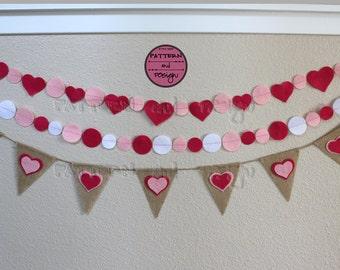 Burlap Valentine Banner, Pink Felt Garland, Felt Heart Garland, Burlap Heart Banner, Pink & White Garland, Valentine Decor, Wedding Decor