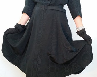 50s Black Dress. Taffeta, Belted, Rhinestone Buttons, Midi. Size Medium Large.