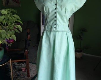 40'S Mint Green Cotton Daywear Shirt and Skirt Set by Junior House