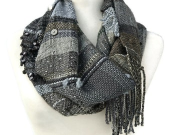 Circle Scarf - Infinity Cowl - Boho Scarf - Plaid Scarf - Grey Wool Scarf - Winter Scarf - Hand Woven Scarf - Womens Scarves - Scarf