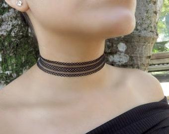 Black Layered Choker, Black Choker Necklace, Patterned Lace Choker, Elastic Choker Necklace, Tattoo Choker, Thick Choker, Trendy Jewelry