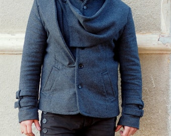 GREY Cashmeere mens coat/grey cashmeere mens jacket whit buttons/unique mens coat by Adrenaline