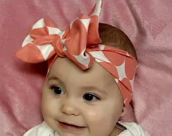 Polka dot head wrap head band baby girl infant adjustable
