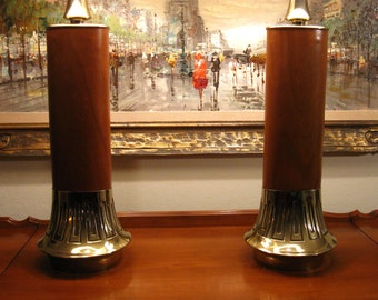 Exceptional pair of Laurel brass and wood mid century lamps with era correct shades