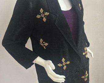 Vintage 1990's Atlantic Beach Leather Coat Works-Black 100% Suede Blazer with Jewel-Toned Rhinestones Size M-XL