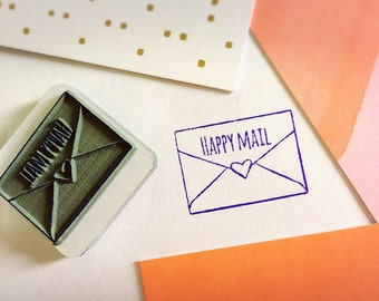 Happy Mail Stamp ~ pretty packaging rubber stamp, snail mail, pen pal, post crossing, kawaii stationery, heart envelope, Valentine's, love
