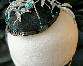 Silver, Blue & Black Spider Fascinator Headband