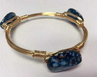 Wire Wrapped Beaded Bracelet--Blue Speckled