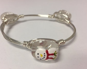 Wire Wrapped Beaded Bracelet--Painted Snowmen