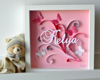 Table pink gift Butterfly birth or baptism custom theme. arabesques, first name. relief. Deco kid's room. paper cut