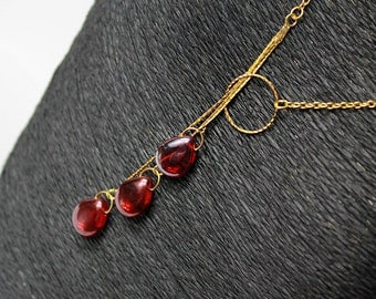 ruby necklace backdrop red gold jewelry gift for girlfriend layering necklace gold red gifts for her elegant necklace for back birthday Y13