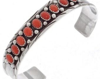 Coral Women's Bracelet Hammered Silver Cuff Southwest